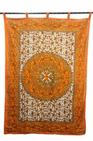 Indian Cotton Animal Print Door Window Cover Curtain Hanging Portiere Drape orange Color