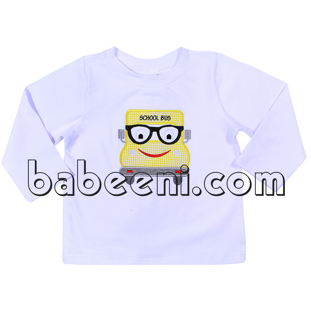 Nice back to school t-shirt for baby boy with school bus appliqued pattern
