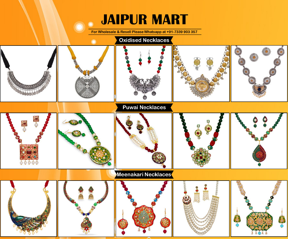 Jaipur Mart Gold Plated Yellow Color Colored Glass Stone, Color Beads, Pearl Necklaces With Earrings