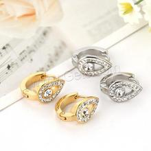 Latest Stainless Steel Hoop Earring plated plating with rhinestone more colors choice earring backs