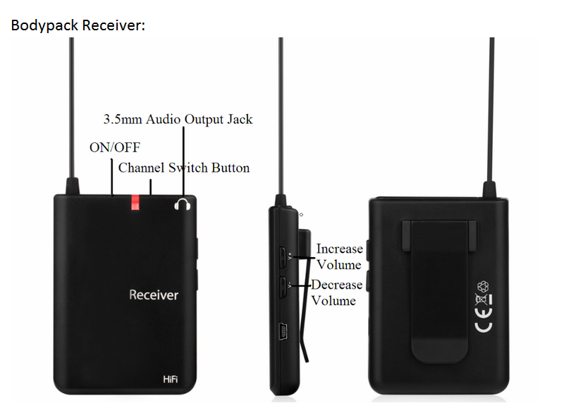 Universal Wireless Mini Transmitter Receiver Body Pack System For Fitness Or Guide
