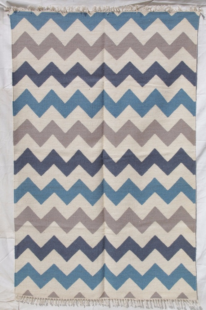 ZIG ZAG DESIGN WOOL DURRY RUGS