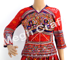 Gujarati Hand Embroidered Mirror Work Blouse-Tribal Kutchi Embroidered Mirror Work Blouse-Back Lace Navratri Blouse