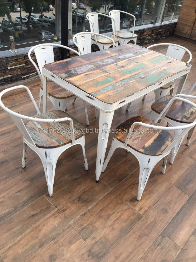 Rough Iron Used Reclaimed Wood Industrial Dining Set