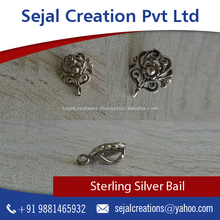 Jewelry Findings 925 Sterling Silver Filigree Bail with Loop for Pendant Making at Economical Rate