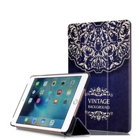 Leather Smart Cover with Tri-fold Stand for iPad mini 4 ,New Vintage Flowers Smart Cover for iPad mini 4