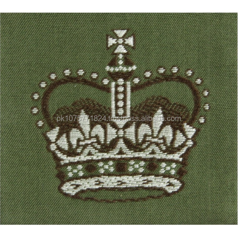 WOVEN BADGES Warrant Officer Class 2 - Australian Army On Jungle Green Queen's Crown. Woven Warrant Officer rank badge