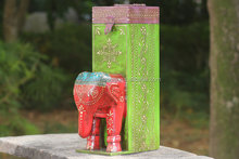 Elephant Wine Bottle Holder - Vintage Look Colorful Indian Art - Gift For All Occasion/Best decorative fancy gift elephant statu