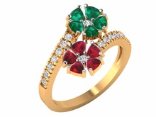 Ruby Emerald Gold Rings Fine Lovers 14k Yellow Gold IGI Certified Round Diamond Real Trillion cut Emerald Ruby Birthstone girls