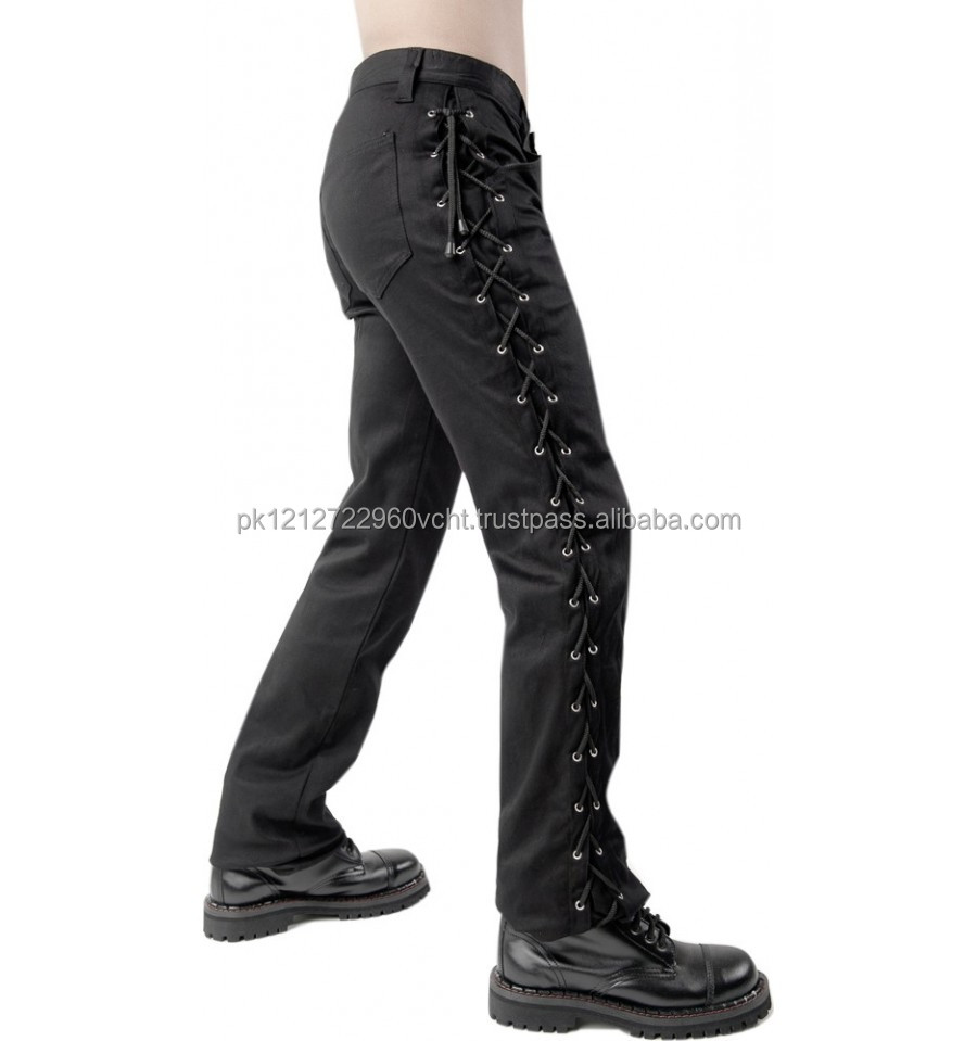 Gothic Black Pistol loop jeans denim pants for mens by Flex Future