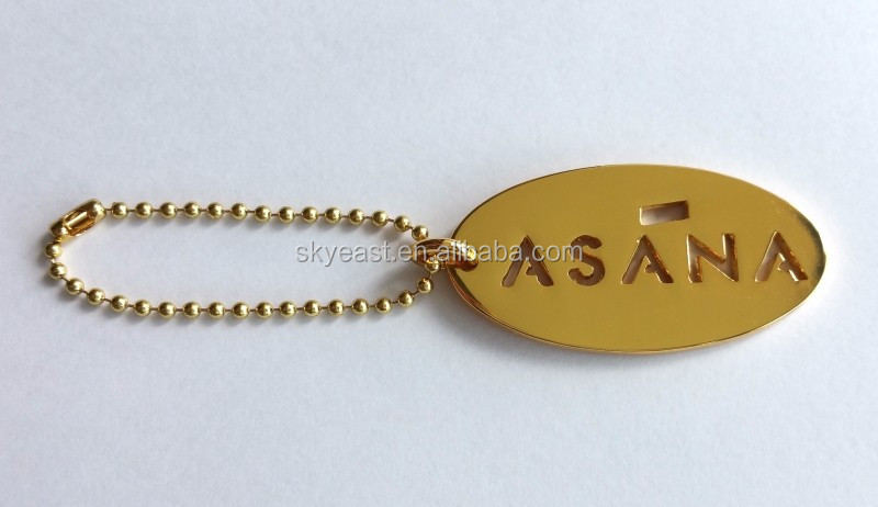Promotional High Shiny Golden Moulded Logo Metal Pendants with Chain