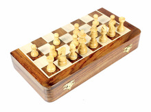 "WOODEN MAGNETIC CHESS SET TRAVEL MAGNETIC FOLDING BOARD ROSEWOOD 6.5"" Inches"