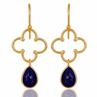 14K Yellow Gold Vermeil 925 Sterling Silver Natural Lapis Lazuli Gemstone Artisan Dangle Earrings Jewelry Supplier And Wholesale