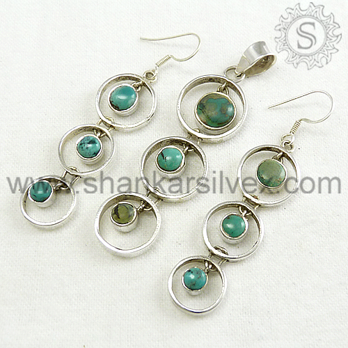 Sumptuous 925 Sterling Silver Turquoise Set Jewerly Manufacture