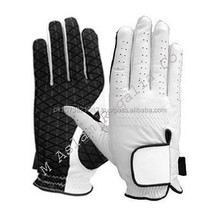 White and black Cabretta Leather Golf Gloves