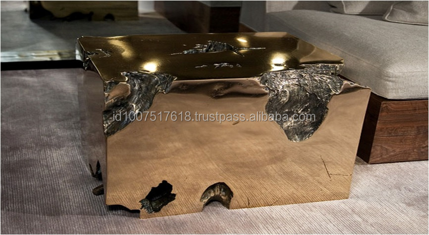 GOLD TEAK ROOT COFFEE TABLE