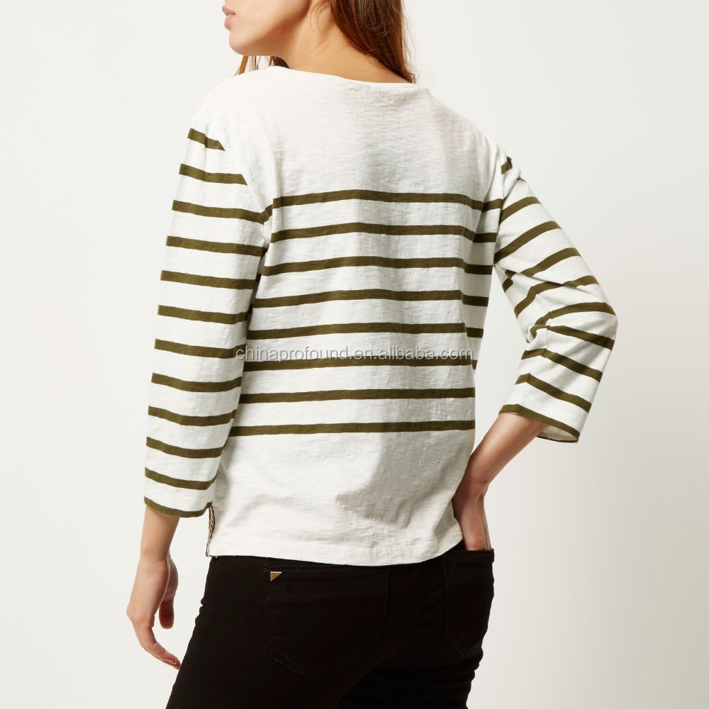 Custom blank long sleeve striped t shirt for women with side splits