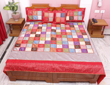 Indian Vintage 100 % Silk Jaipuri Bedsheet Hand Block Gold Print Associated Patch Bedspread Bed Cover Blanket