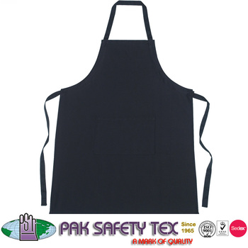 Bib Apron With Chest Pocket Adjustable Neck Long Ties