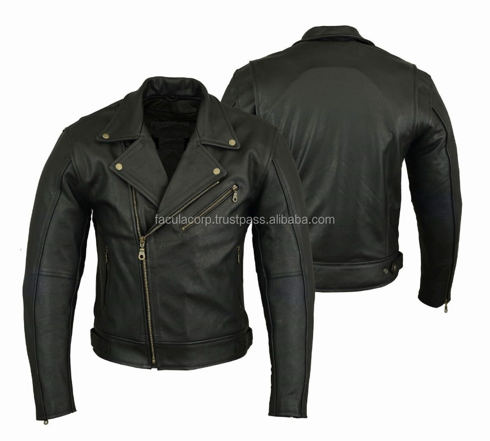 Motorbike Leather Jacket Motorcycle Protection Armour CE Chopper style jacket FC-16827