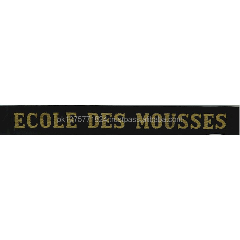 WOVEN BADGES Ecole Des Mousses French Naval Academy - Brest Cap-Tally Woven Naval cap badge or cap tally