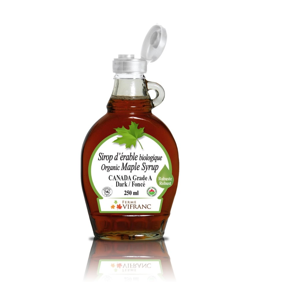 Organic Maple Syrup, glass bottle, 250 ml, Canada Grade A Dark