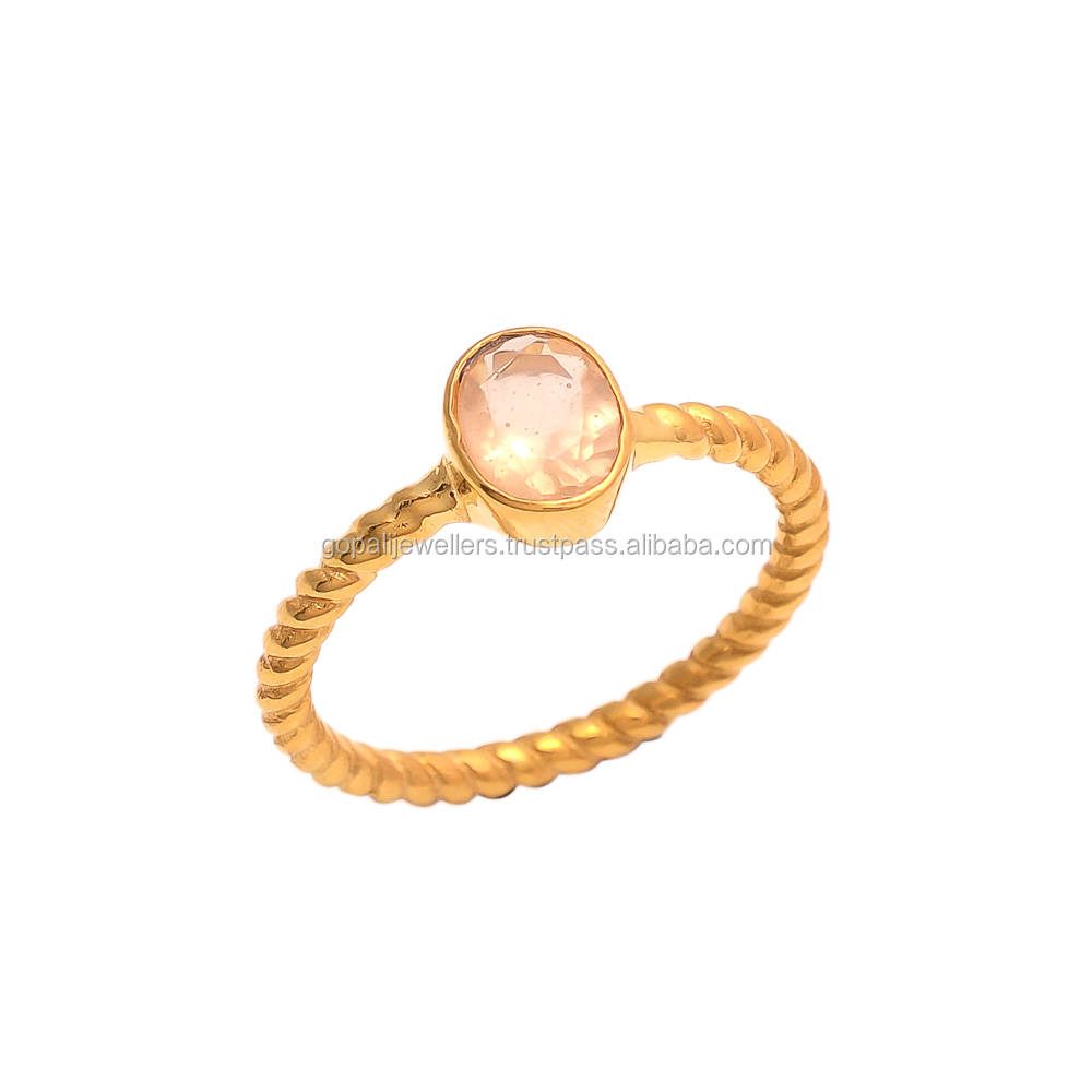 Peach Chalcedony Gemstone Vermiel Gold Plated Handmade Ring Jewelry For Womens