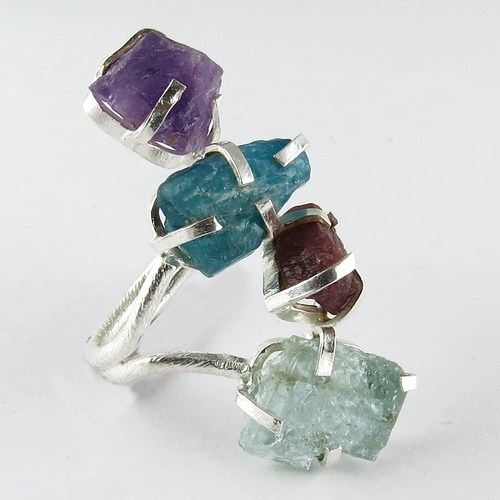 Bring The Heat !! Aquamarine_Ruby_Apatite_Amethyst 925 Sterling Silver Ring, Online Silver Jewelry, Fashion Silver Jewelry