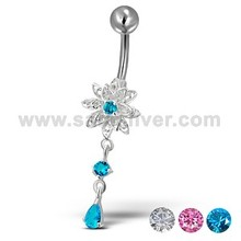 Flower Design CZ Stone Silver Belly Button Ring