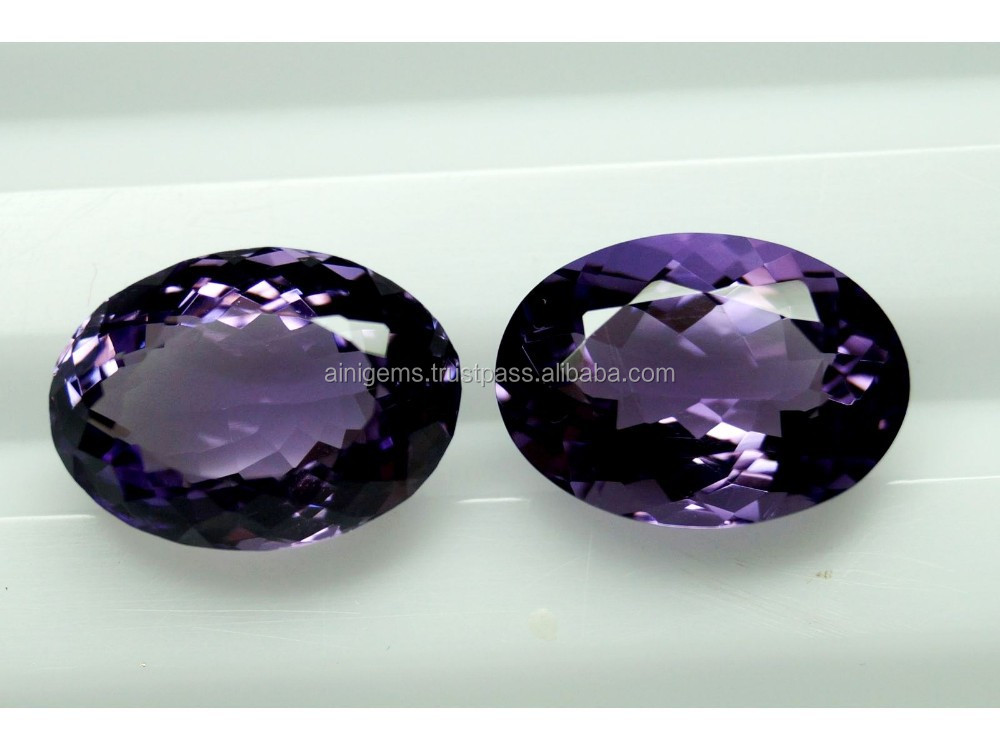 18x13mm Oval AAA Quality Natural Brazilian Amethyst 2 Pieces LOT Gems With Amazing Luster