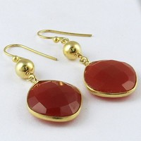 Artisan ! Gold Plated Carnelian 925 Sterling Silver Earring, Wholesale Silver Jewelry from India, Jaipur Gemstone Silver Jewelry