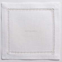 Square hemstitch linen cocktail napkins white