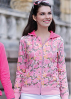 2015 lovely women winter wear flowers design pink color hoodies full zipper cardigan sweater in india