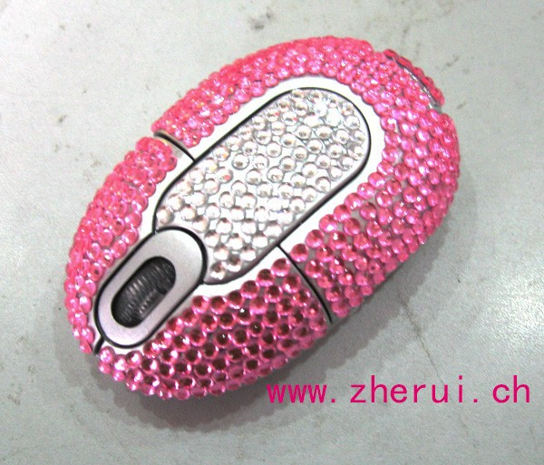 Bling rhinestone colorful drivers usb wireless mouse
