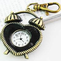 Keychain Watch Zinc Alloy Clock antique bronze color plated black 43x50mm Sold By PC