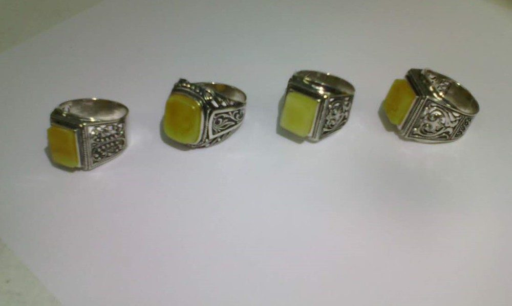 Genuine Baltic Amber Rings Silver 925 Handmade Exclusive Men Women