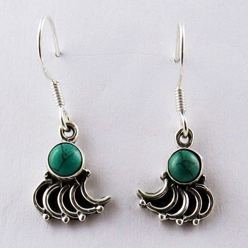 Antique Jewelry !! Turquoise 925 Sterling Silver Earring, Silver Jewelry Exporter, Gemstone Silver Jewelry Supplier