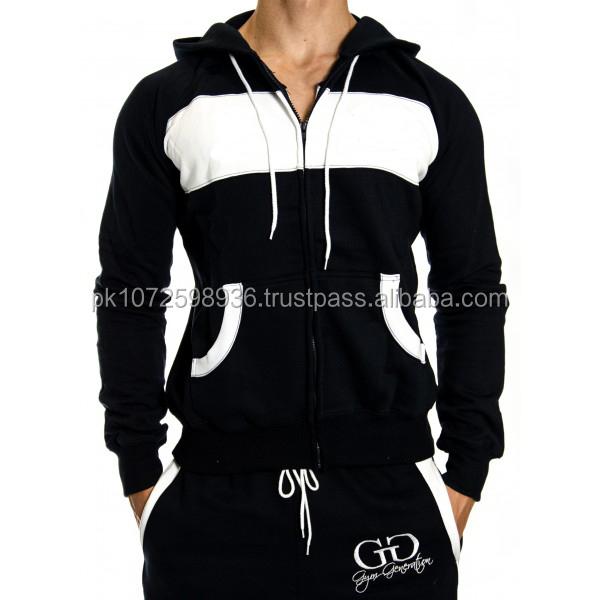gym hoodies with zipper /custom logo wholesale plain gym black & white hoodies/ body warmer men zipper hoodie