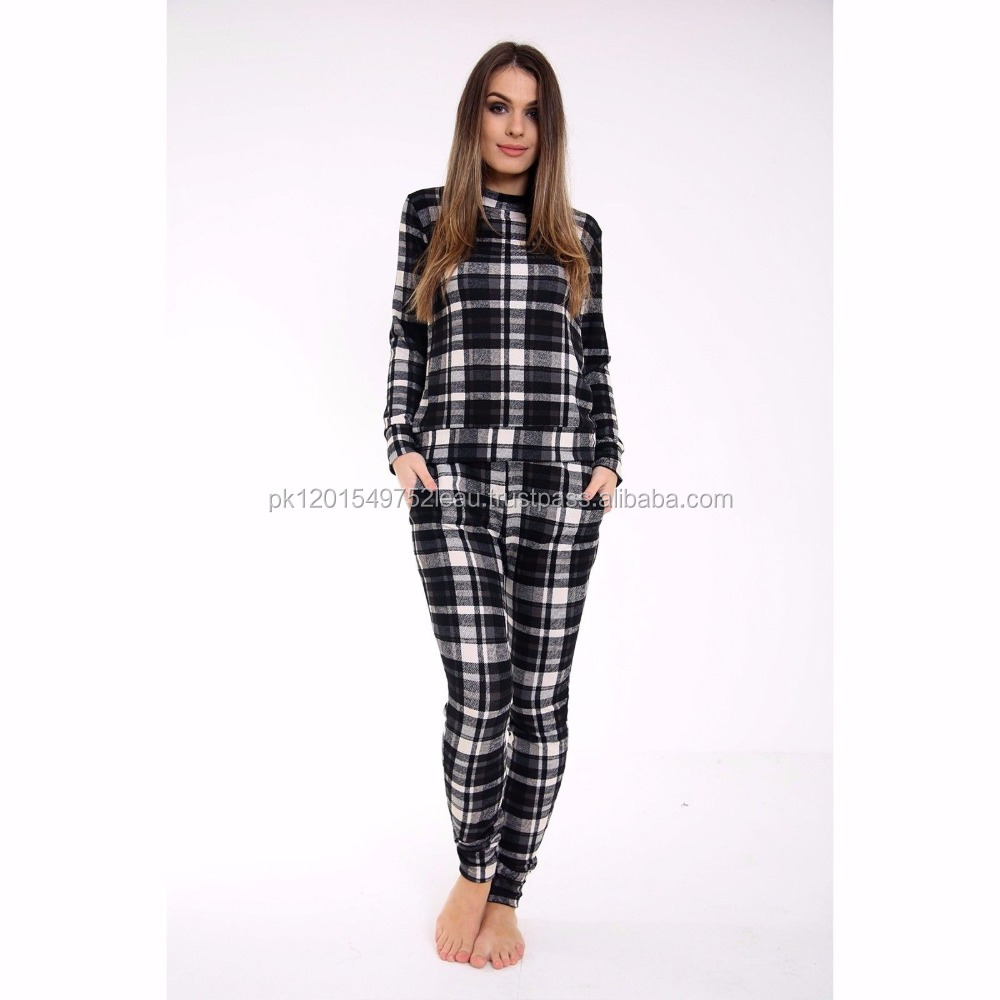 Women Check Style Latest Tracksuit Jogging Night Suit