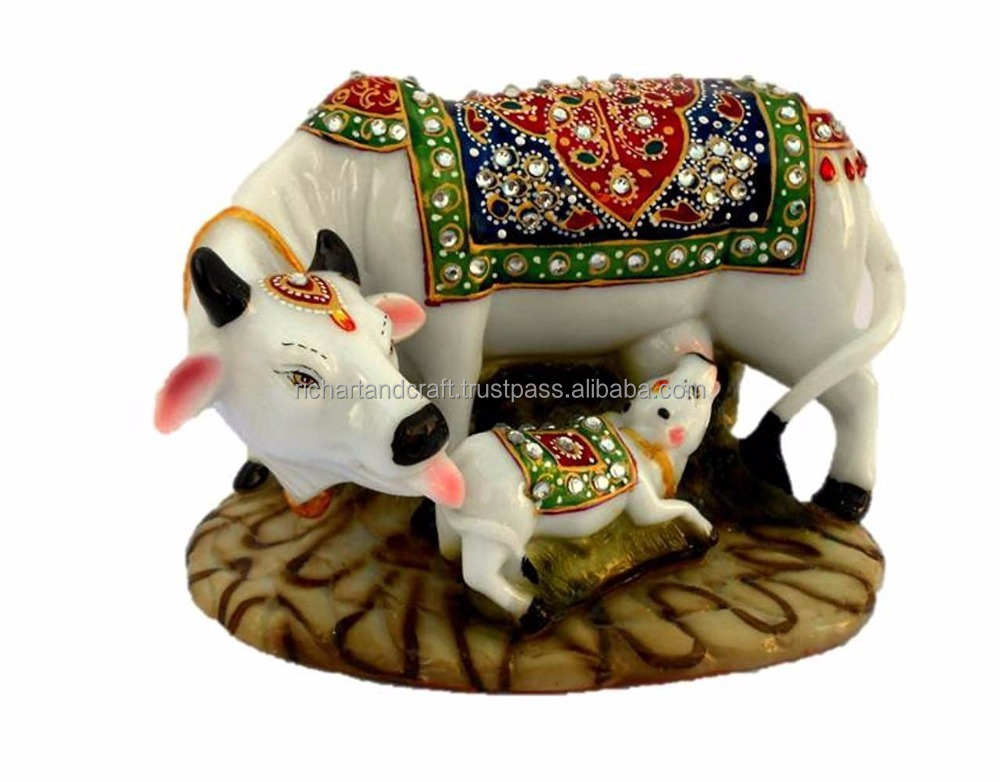 Decorative Marble dust Polyresin Kamdhenu Cow and Calf Big Statue Idol