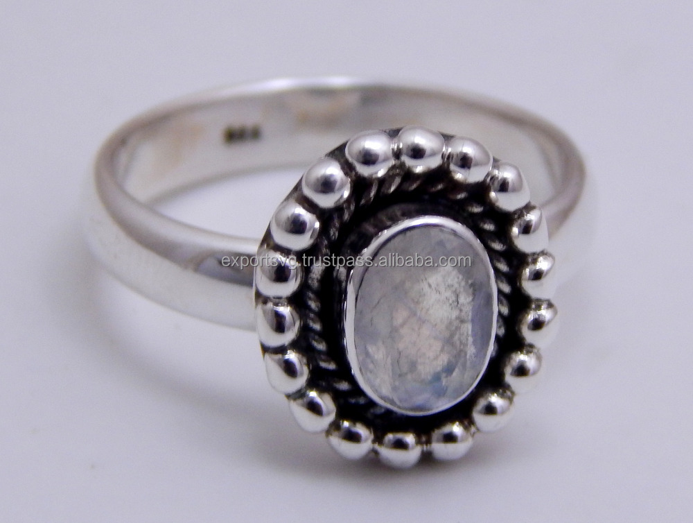 Rainbow Moonstone 925 Sterling Silver Ring, silver jewelry 925 Rings