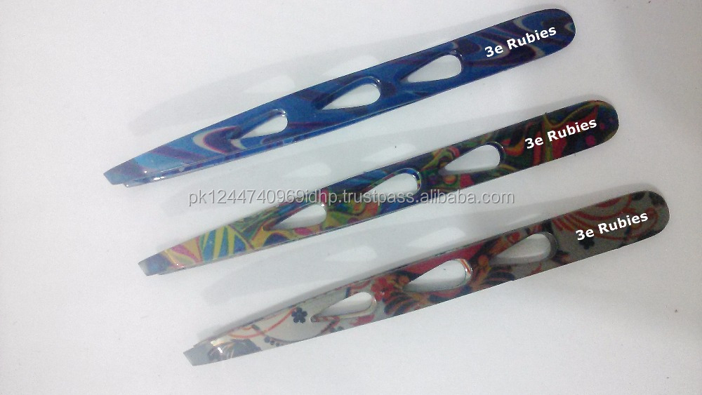 Transparent paper coated slanted and pointed tweezers/Volume Straight Eyebrow tweezers Custom coating available wholesale rates
