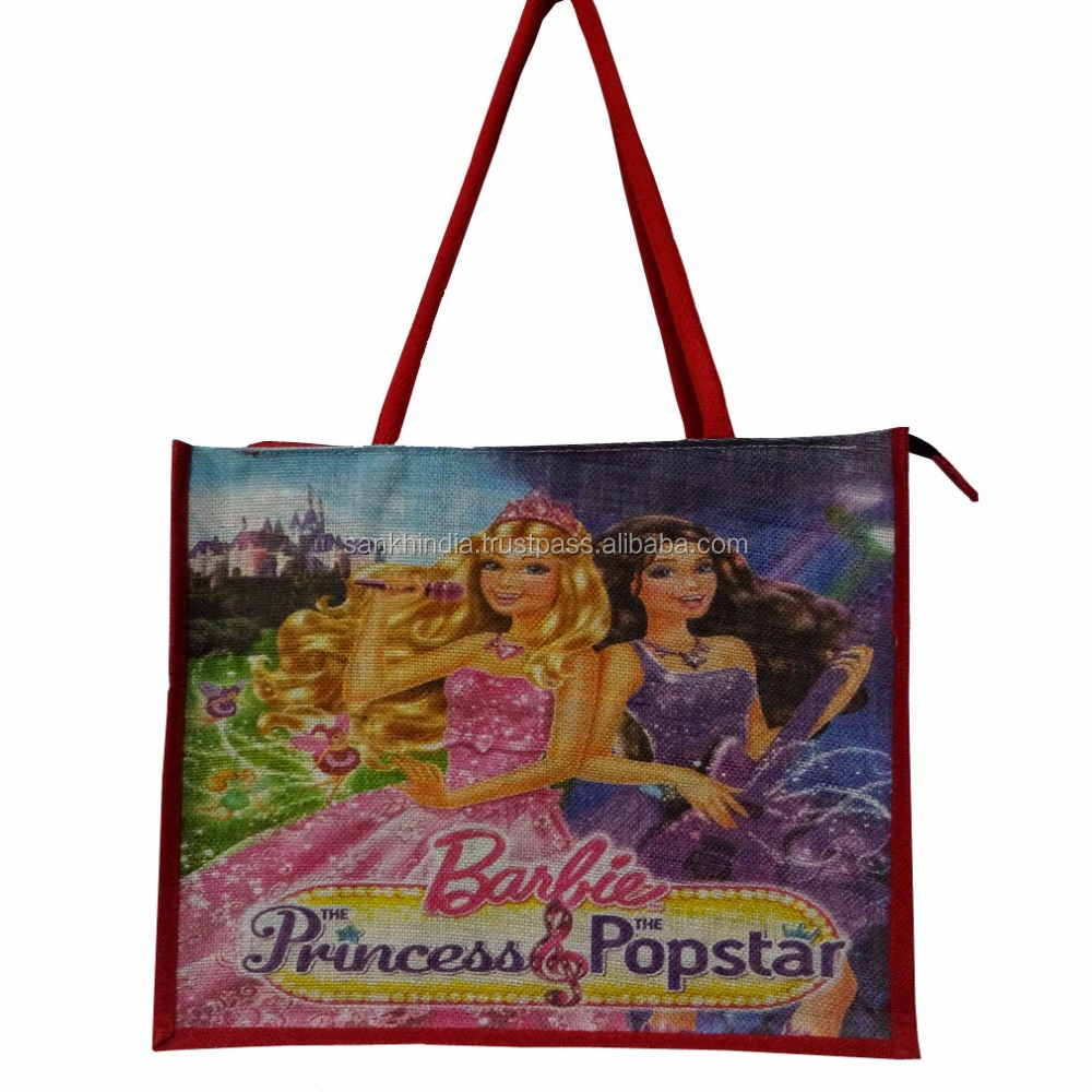 printed jute handbag Barbie Princess Popstar Bag shopping bag jute handbag