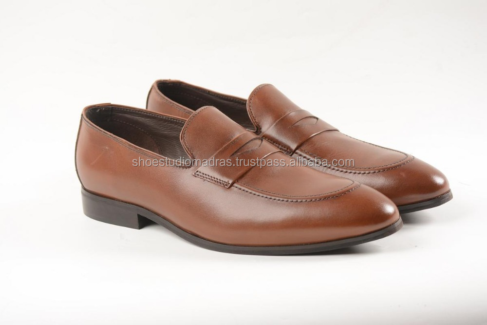 High Quality Tan Brown Mens Dress Slip On Formal Shoes