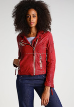 Women Cowhide Red Casual Girl Motorbike Style Custom Leather Jacket