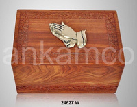 Wooden Memorial Urn inlay Pray Hand