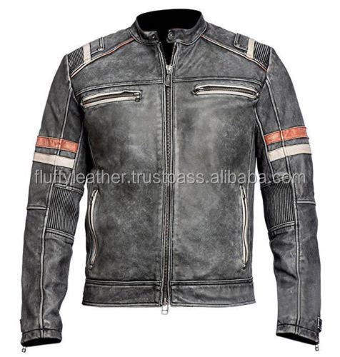 Men's Vintage Motorcycle Cafe Racer Biker Retro Moto Distressed Leather Jacket--FL-2252