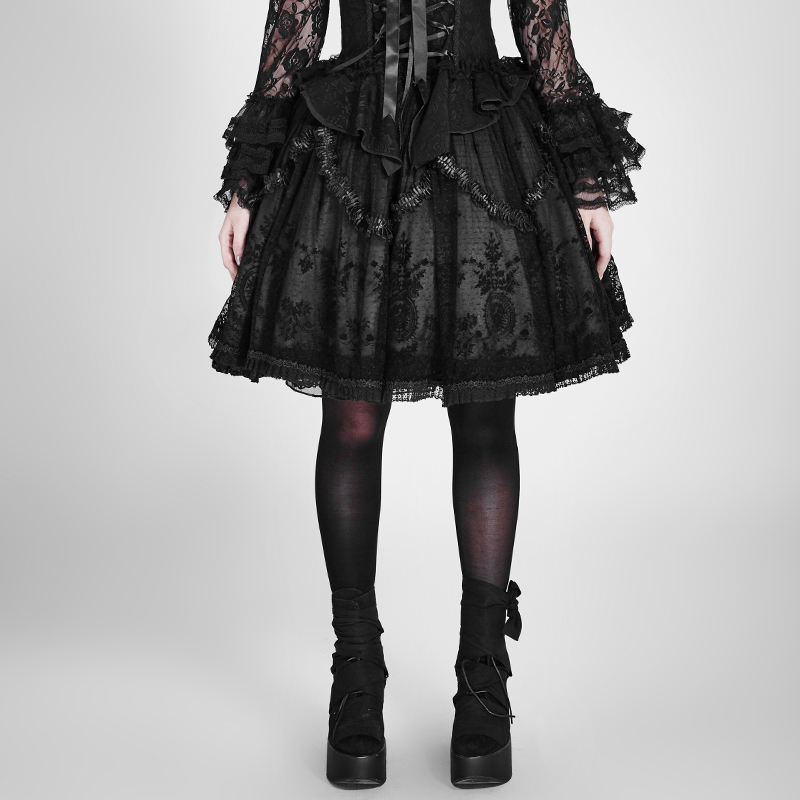 Gothic lolita embroidered puffed skirt