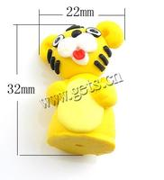 Cartoon Polymer Clay Beads Tiger imported yellow 32x22x15mm Hole:Approx 1.2mm Sold By PC