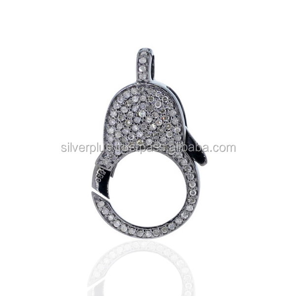 Pave Diamond Lobster Clasp 925 Sterling Silver Jewelry Findings Wholesale Diamond Pave Clasps
